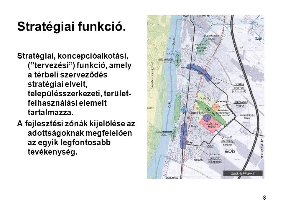 """8 Stratégiai funkció. Stratégiai, koncepcióalkotási, (""""tervezési"""") funkció, amely a térbeli szerveződés stratégiai elveit, településszerkezeti, terüle"""
