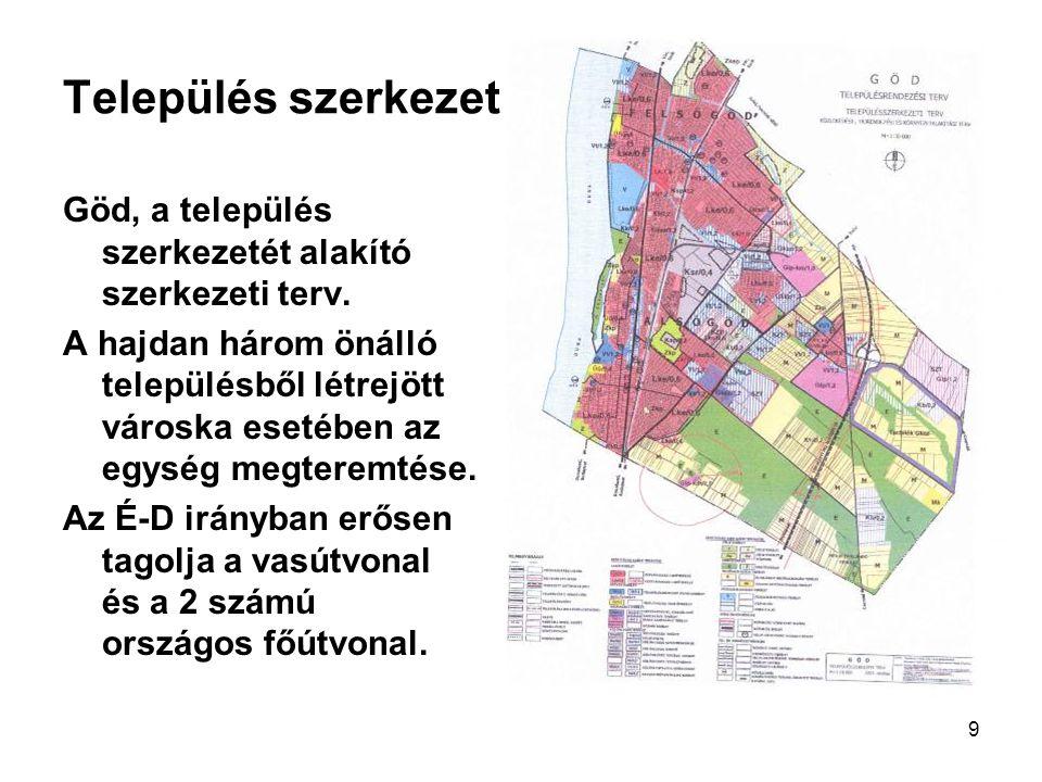 9 Település szerkezet Göd, a település szerkezetét alakító szerkezeti terv. A hajdan három önálló településből létrejött városka esetében az egység me
