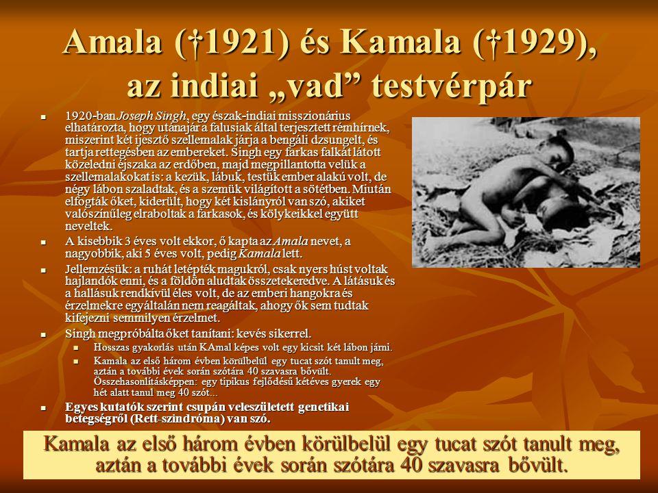 """Amala (†1921) és Kamala (†1929), az indiai """"vad"""" testvérpár 1920-ban Joseph Singh, egy észak-indiai misszionárius elhatározta, hogy utánajár a falusia"""