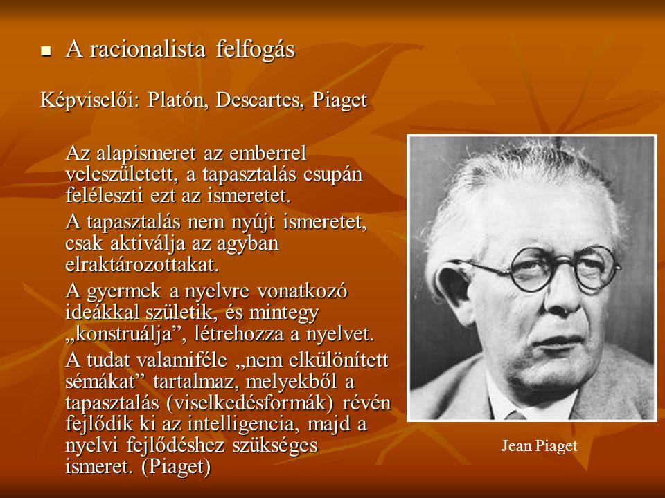 A racionalista felfogás A racionalista felfogás Képviselői: Platón, Descartes, Piaget Az alapismeret az emberrel veleszületett, a tapasztalás csupán f