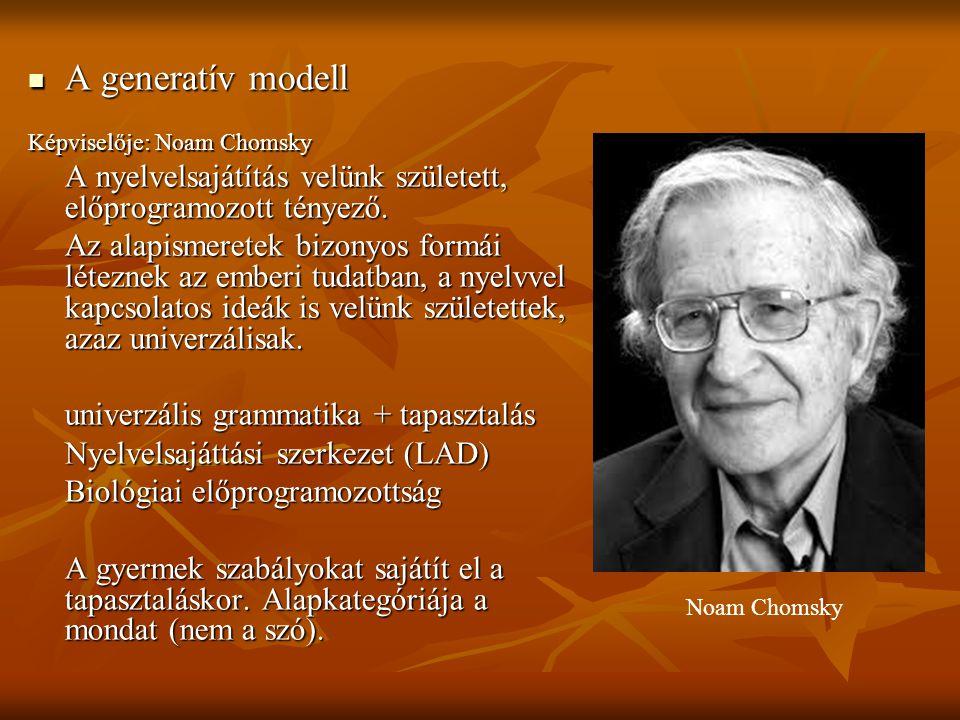 A generatív modell A generatív modell Képviselője: Noam Chomsky A nyelvelsajátítás velünk született, előprogramozott tényező. Az alapismeretek bizonyo