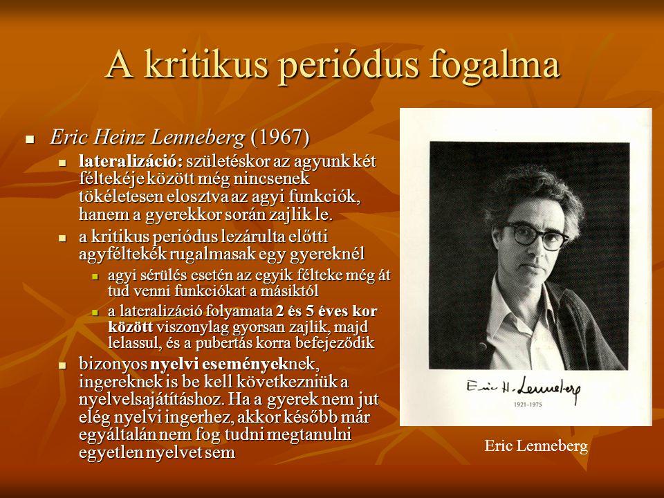 A kritikus periódus fogalma Eric Heinz Lenneberg (1967) Eric Heinz Lenneberg (1967) lateralizáció: születéskor az agyunk két féltekéje között még ninc