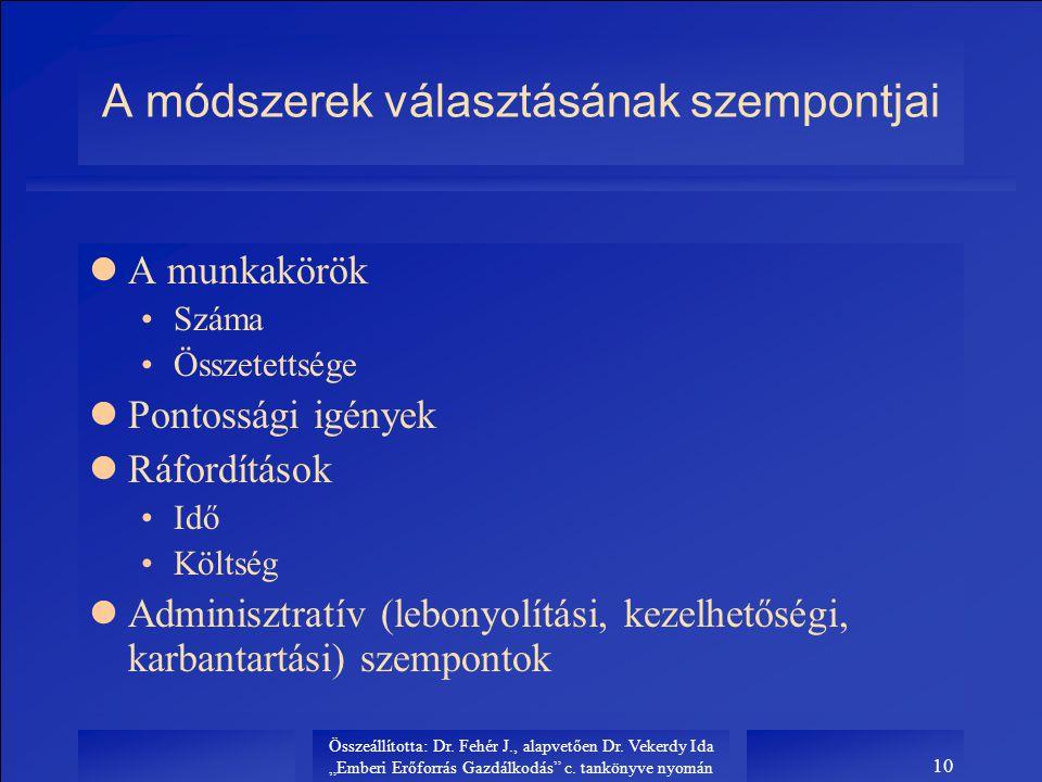 """Összeállította: Dr. Fehér J., alapvetően Dr. Vekerdy Ida """"Emberi Erőforrás Gazdálkodás"""" c. tankönyve nyomán 10 A módszerek választásának szempontjai l"""