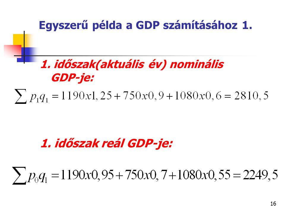 16 Egyszerű példa a GDP számításához 1. 1. időszak(aktuális év) nominális GDP-je: 1. időszak reál GDP-je:
