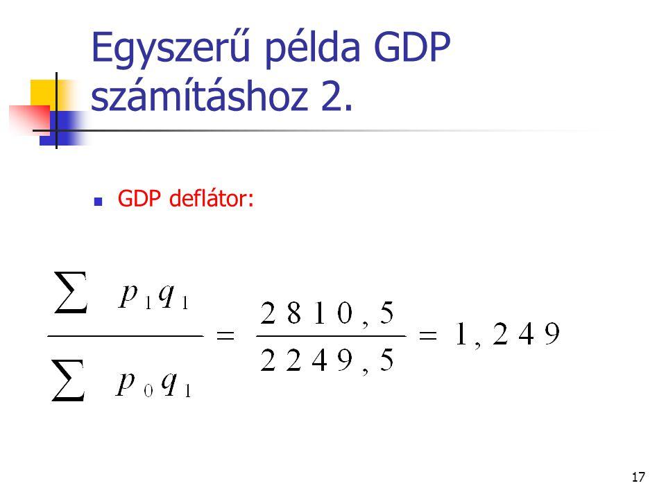 17 Egyszerű példa GDP számításhoz 2. GDP deflátor: