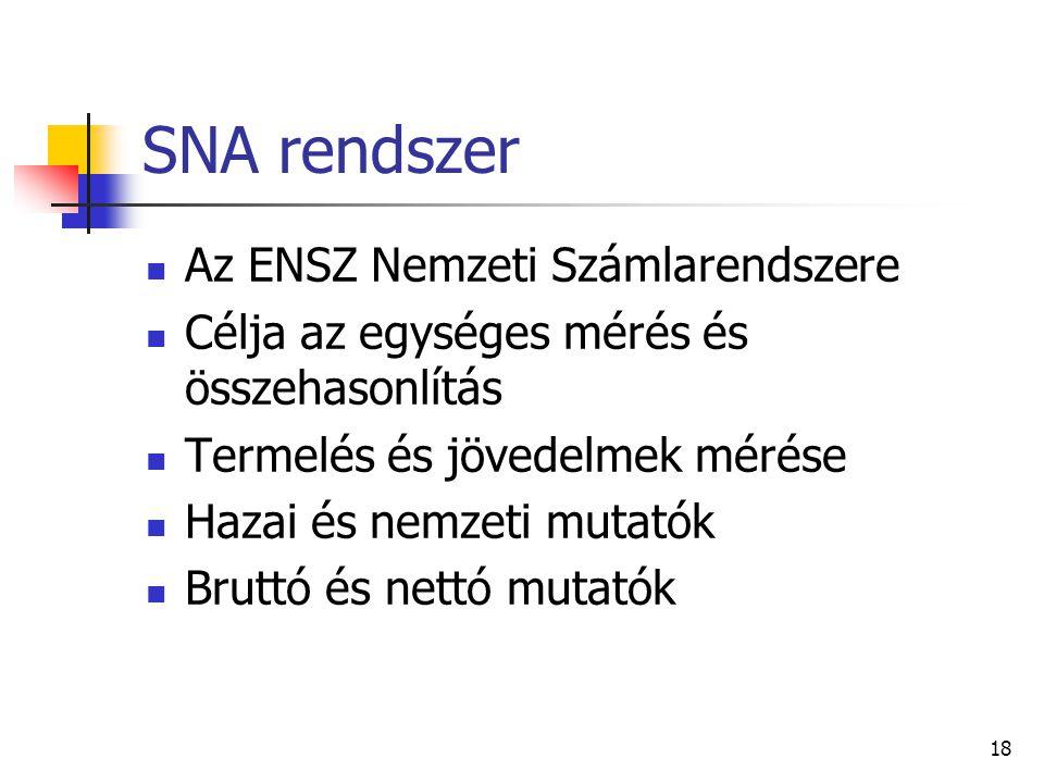 18 SNA rendszer Az ENSZ Nemzeti Számlarendszere Célja az egységes mérés és összehasonlítás Termelés és jövedelmek mérése Hazai és nemzeti mutatók Bruttó és nettó mutatók