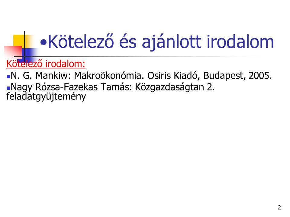 2 Kötelező és ajánlott irodalom Kötelező irodalom: N. G. Mankiw: Makroökonómia. Osiris Kiadó, Budapest, 2005. Nagy Rózsa-Fazekas Tamás: Közgazdaságtan