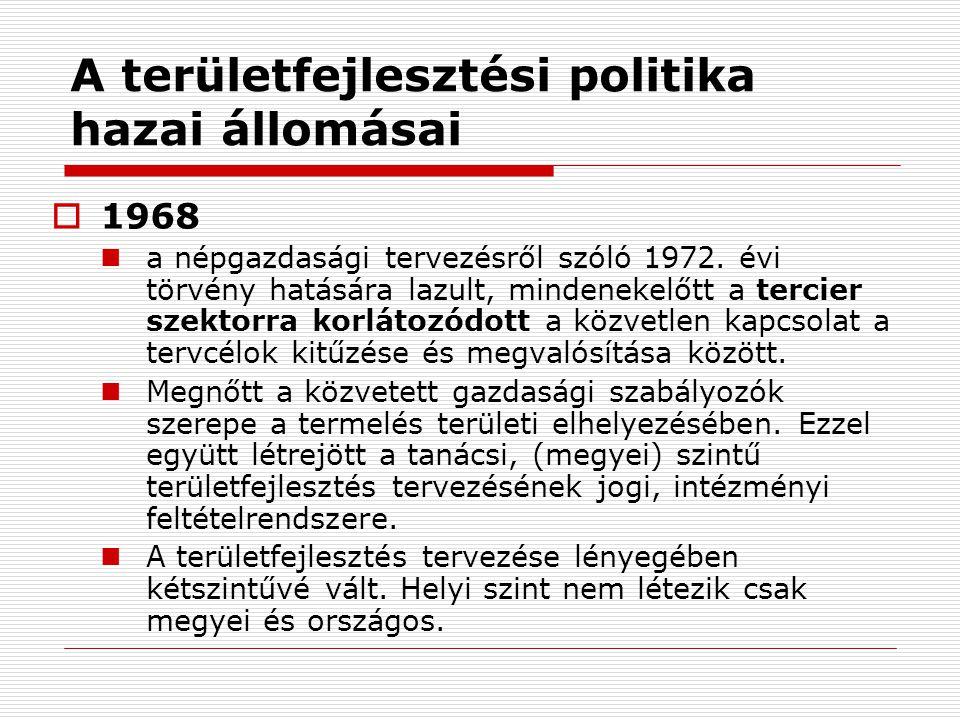  1968 a népgazdasági tervezésről szóló 1972. évi törvény hatására lazult, mindenekelőtt a tercier szektorra korlátozódott a közvetlen kapcsolat a ter