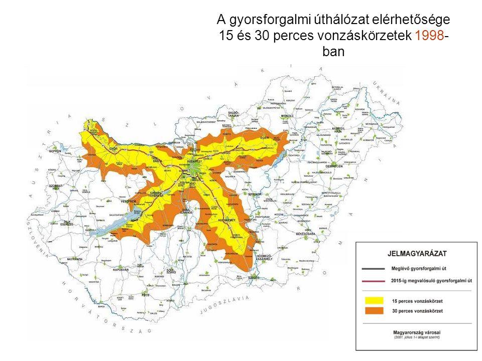 A gyorsforgalmi úthálózat elérhetősége 15 és 30 perces vonzáskörzetek 1998- ban