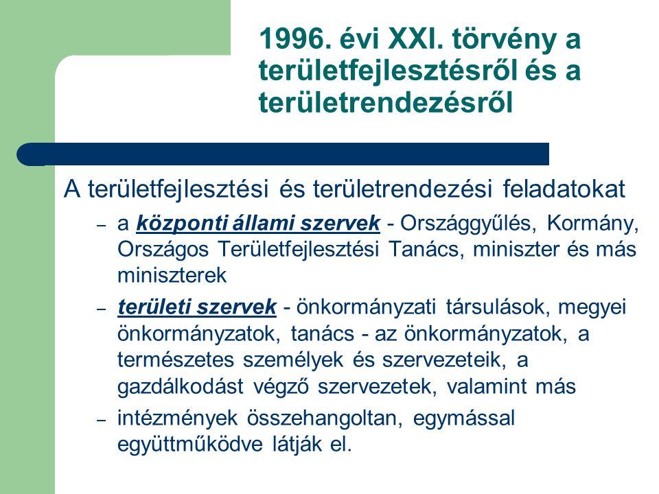 A területfejlesztési és területrendezési feladatokat – a központi állami szervek - Országgyűlés, Kormány, Országos Területfejlesztési Tanács, miniszte
