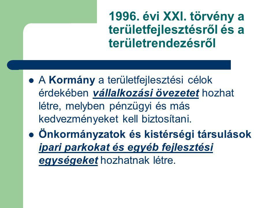 1996. évi XXI. törvény a területfejlesztésről és a területrendezésről A Kormány a területfejlesztési célok érdekében vállalkozási övezetet hozhat létr