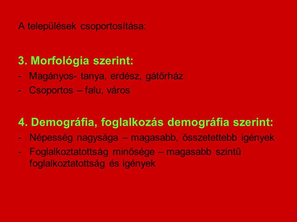 A települések csoportosítása: 3. Morfológia szerint: -Magányos- tanya, erdész, gátőrház -Csoportos – falu, város 4. Demográfia, foglalkozás demográfia