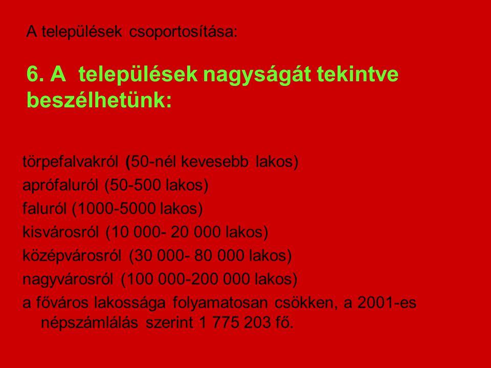 törpefalvakról (50-nél kevesebb lakos) aprófaluról (50-500 lakos) faluról (1000-5000 lakos) kisvárosról (10 000- 20 000 lakos) középvárosról (30 000-