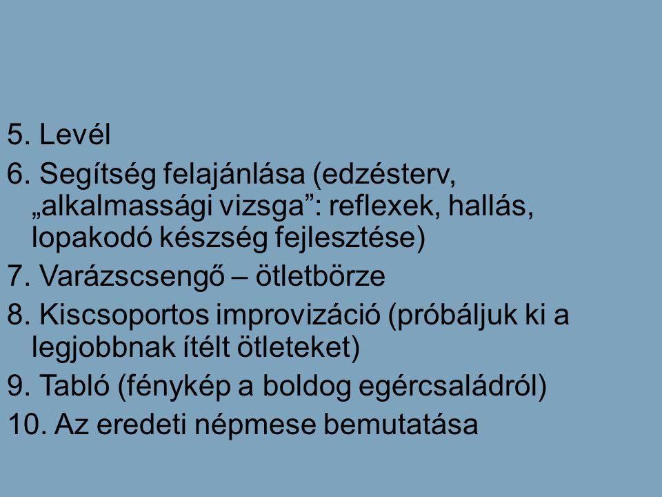 """5. Levél 6. Segítség felajánlása (edzésterv, """"alkalmassági vizsga"""": reflexek, hallás, lopakodó készség fejlesztése) 7. Varázscsengő – ötletbörze 8. Ki"""