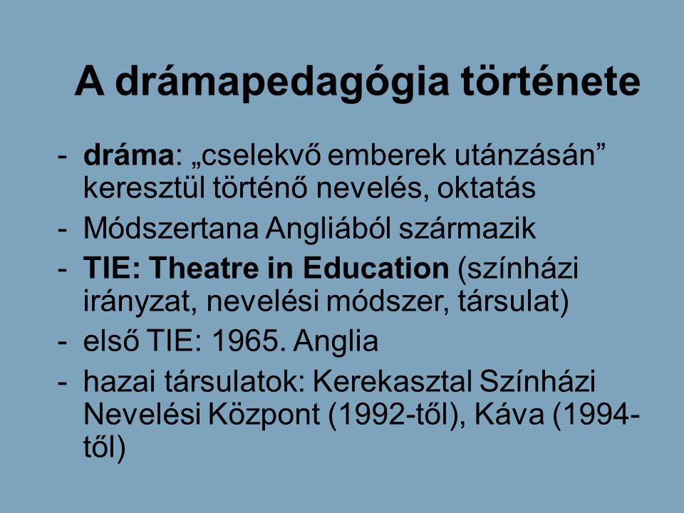 """A drámapedagógia története -dráma: """"cselekvő emberek utánzásán"""" keresztül történő nevelés, oktatás -Módszertana Angliából származik -TIE: Theatre in E"""