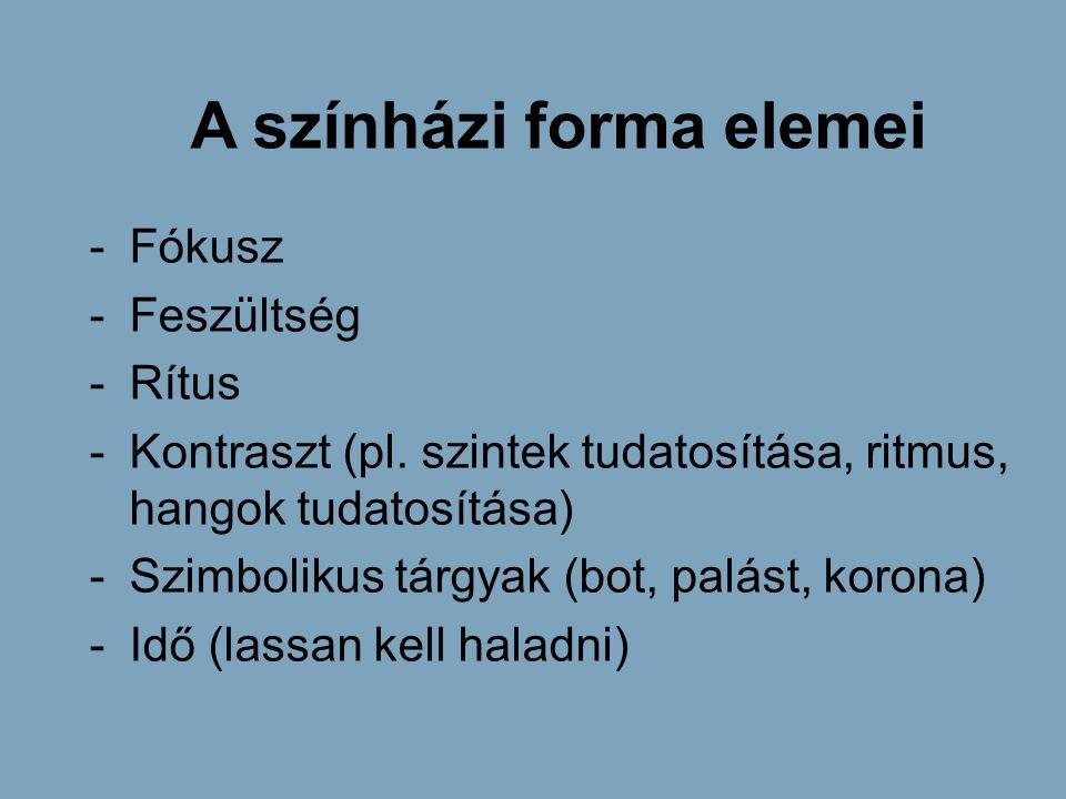 A színházi forma elemei -Fókusz -Feszültség -Rítus -Kontraszt (pl. szintek tudatosítása, ritmus, hangok tudatosítása) -Szimbolikus tárgyak (bot, palás