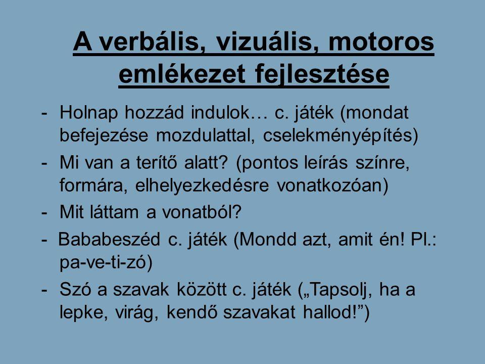 A verbális, vizuális, motoros emlékezet fejlesztése -Holnap hozzád indulok… c. játék (mondat befejezése mozdulattal, cselekményépítés) -Mi van a terít