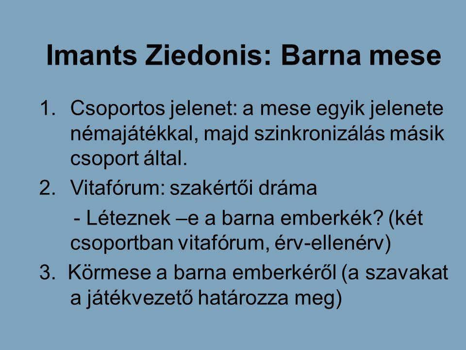 Imants Ziedonis: Barna mese 1.Csoportos jelenet: a mese egyik jelenete némajátékkal, majd szinkronizálás másik csoport által. 2.Vitafórum: szakértői d
