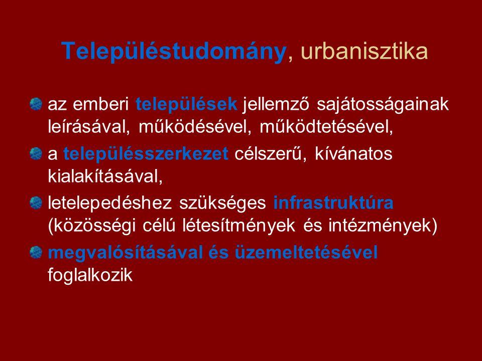 Településtudomány, urbanisztika az emberi települések jellemző sajátosságainak leírásával, működésével, működtetésével, a településszerkezet célszerű,