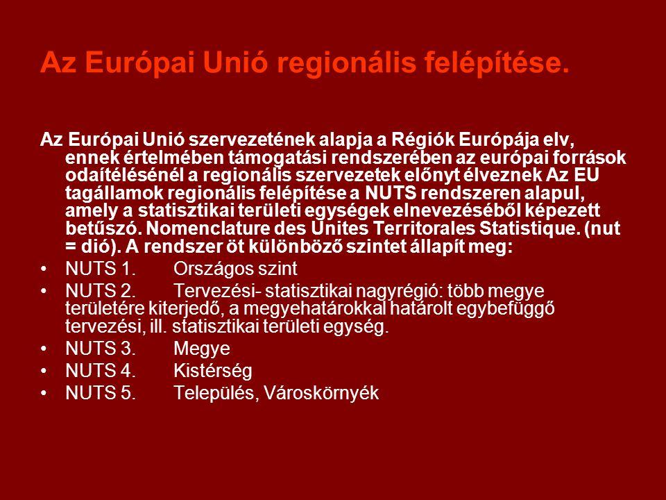 Az Európai Unió regionális felépítése. Az Európai Unió szervezetének alapja a Régiók Európája elv, ennek értelmében támogatási rendszerében az európai