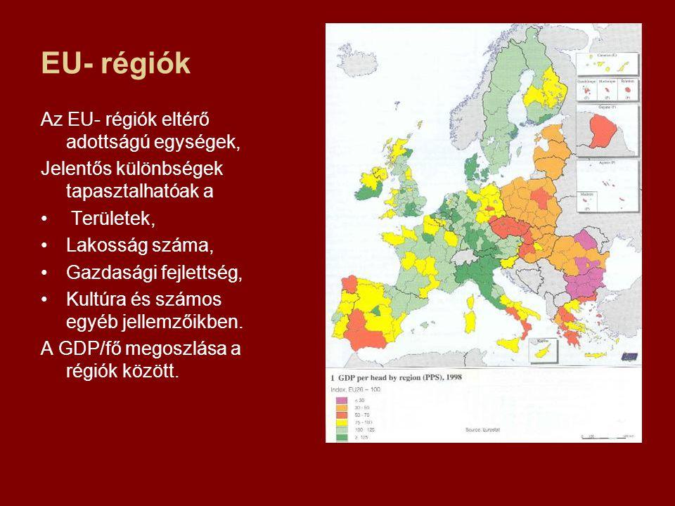 EU- régiók Az EU- régiók eltérő adottságú egységek, Jelentős különbségek tapasztalhatóak a Területek, Lakosság száma, Gazdasági fejlettség, Kultúra és