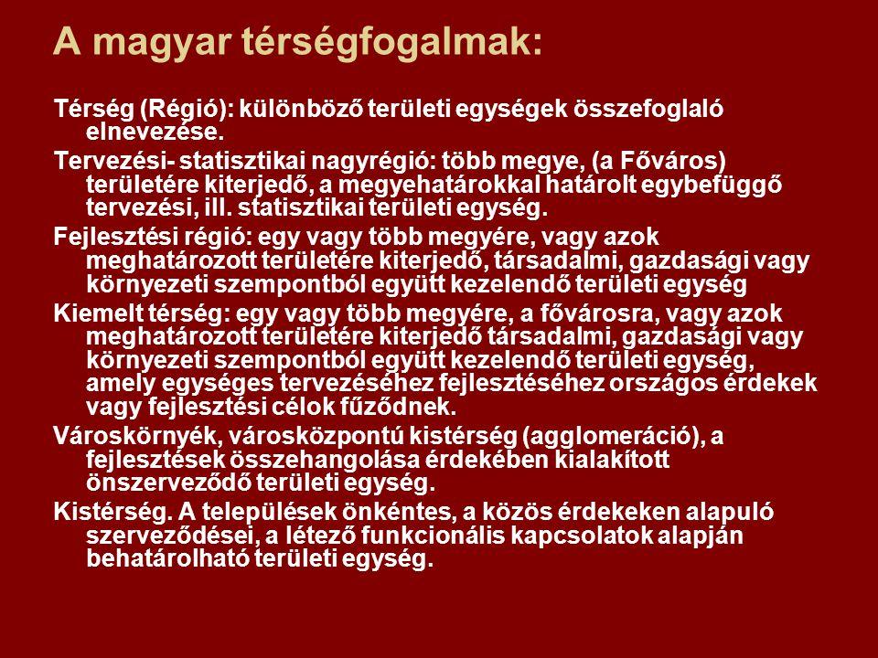 A magyar térségfogalmak: Térség (Régió): különböző területi egységek összefoglaló elnevezése. Tervezési- statisztikai nagyrégió: több megye, (a Főváro