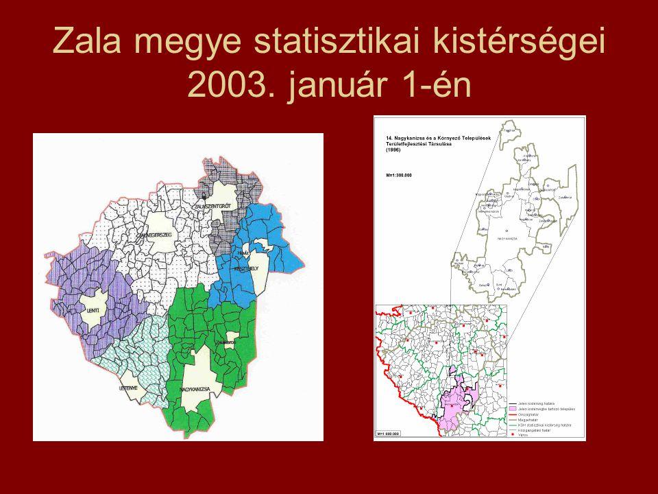 Zala megye statisztikai kistérségei 2003. január 1-én