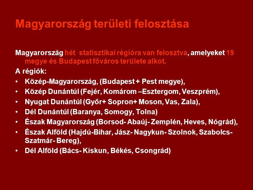 Magyarország területi felosztása Magyarország hét statisztikai régióra van felosztva, amelyeket 19 megye és Budapest főváros területe alkot. A régiók: