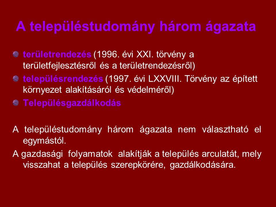 A településtudomány három ágazata területrendezés (1996. évi XXI. törvény a területfejlesztésről és a területrendezésről) településrendezés (1997. évi