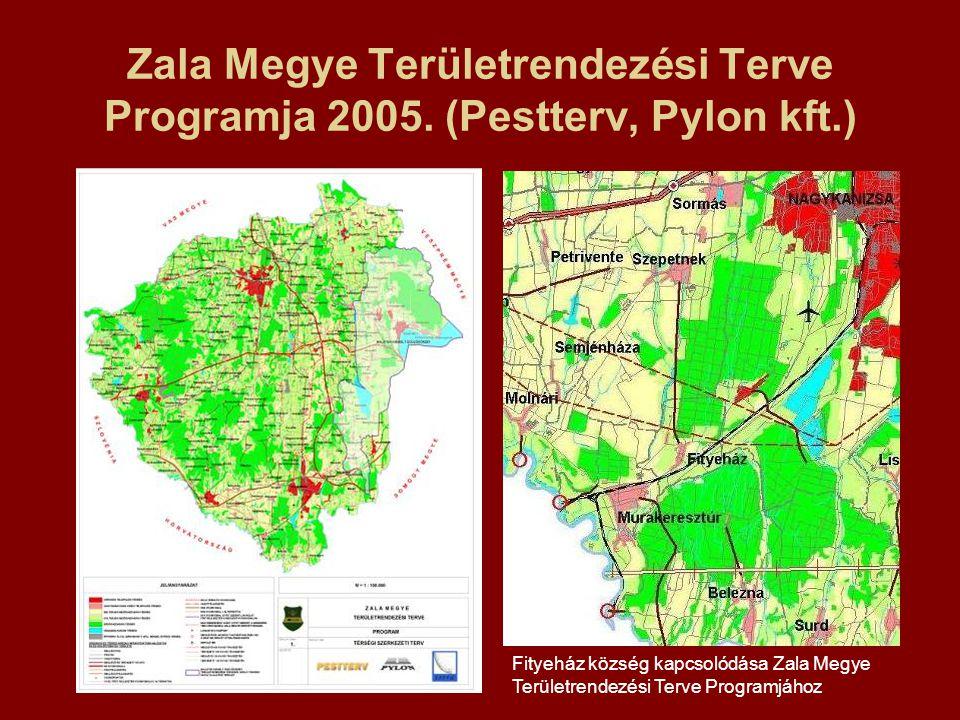 Zala Megye Területrendezési Terve Programja 2005. (Pestterv, Pylon kft.) Fityeház község kapcsolódása Zala Megye Területrendezési Terve Programjához