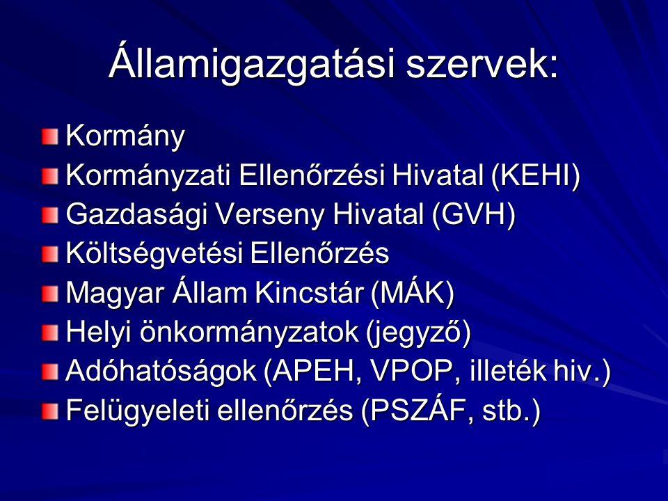 Államigazgatási szervek: Kormány Kormányzati Ellenőrzési Hivatal (KEHI) Gazdasági Verseny Hivatal (GVH) Költségvetési Ellenőrzés Magyar Állam Kincstár