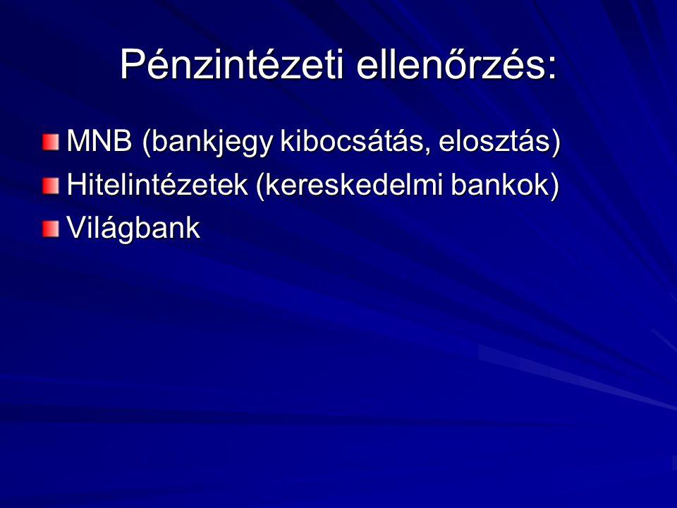 Pénzintézeti ellenőrzés: MNB (bankjegy kibocsátás, elosztás) Hitelintézetek (kereskedelmi bankok) Világbank