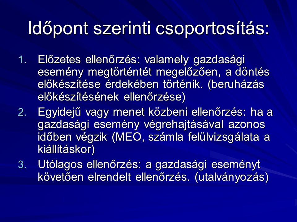 Időpont szerinti csoportosítás: 1. Előzetes ellenőrzés: valamely gazdasági esemény megtörténtét megelőzően, a döntés előkészítése érdekében történik.