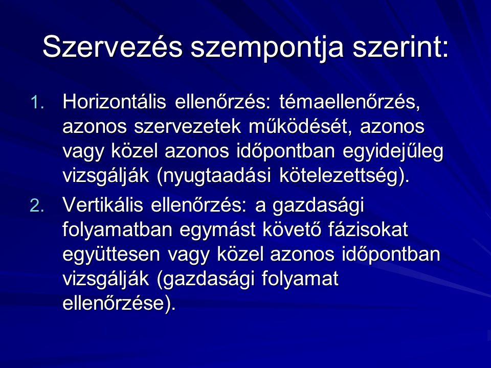 Szervezés szempontja szerint: 1. Horizontális ellenőrzés: témaellenőrzés, azonos szervezetek működését, azonos vagy közel azonos időpontban egyidejűle