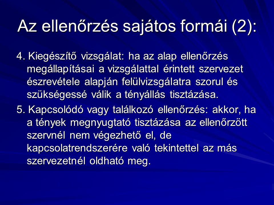 Az ellenőrzés sajátos formái (2): 4. Kiegészítő vizsgálat: ha az alap ellenőrzés megállapításai a vizsgálattal érintett szervezet észrevétele alapján
