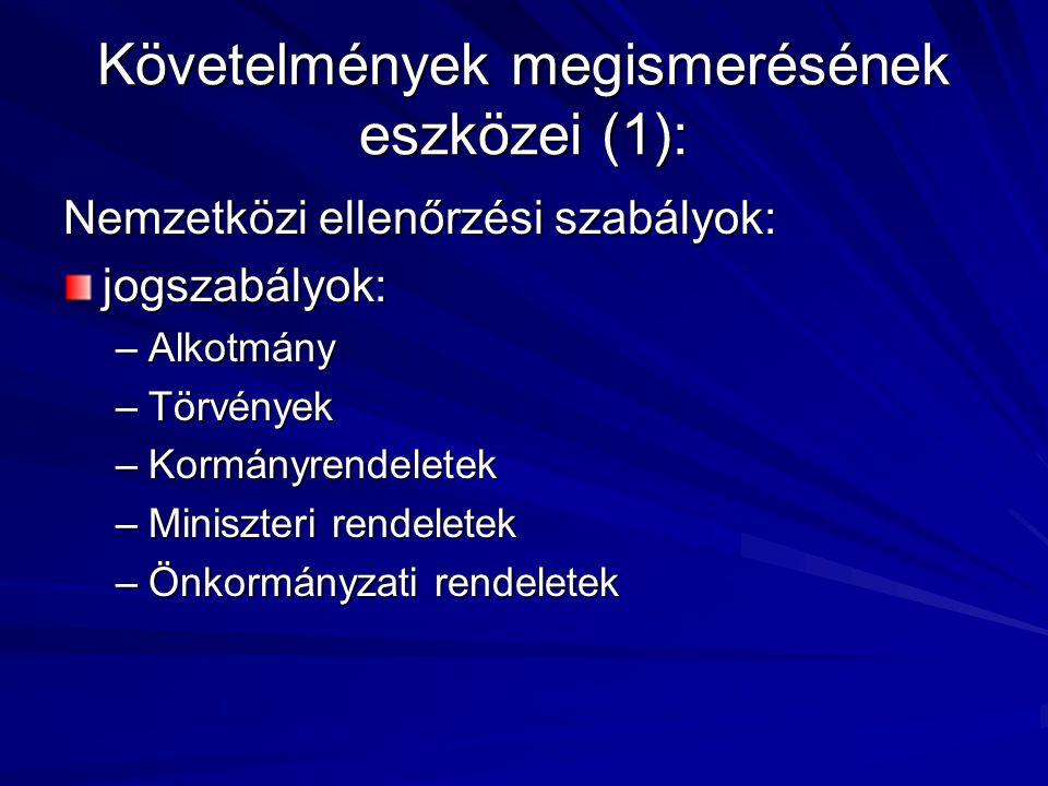 Követelmények megismerésének eszközei (1): Nemzetközi ellenőrzési szabályok: jogszabályok: –Alkotmány –Törvények –Kormányrendeletek –Miniszteri rendel