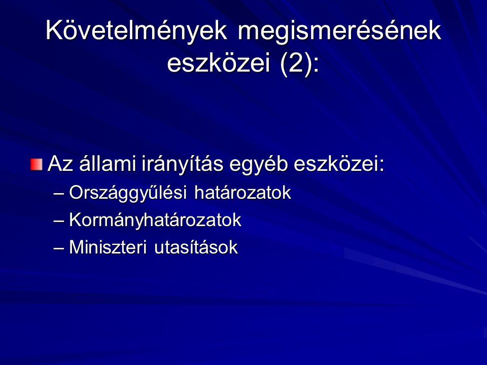 Követelmények megismerésének eszközei (2): Az állami irányítás egyéb eszközei: –Országgyűlési határozatok –Kormányhatározatok –Miniszteri utasítások