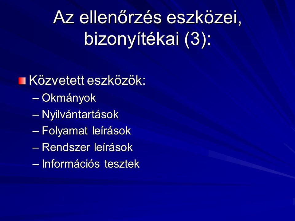 Az ellenőrzés eszközei, bizonyítékai (3): Közvetett eszközök: –Okmányok –Nyilvántartások –Folyamat leírások –Rendszer leírások –Információs tesztek