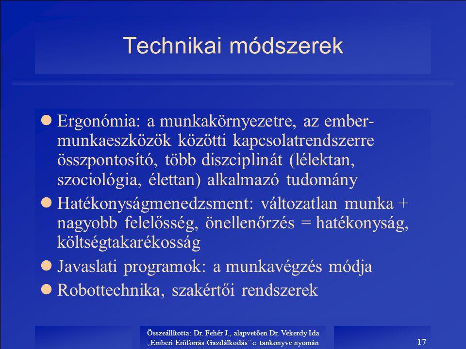 """Összeállította: Dr. Fehér J., alapvetően Dr. Vekerdy Ida """"Emberi Erőforrás Gazdálkodás"""" c. tankönyve nyomán 17 Technikai módszerek lErgonómia: a munka"""