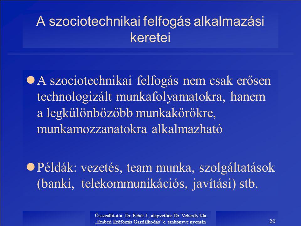 """Összeállította: Dr. Fehér J., alapvetően Dr. Vekerdy Ida """"Emberi Erőforrás Gazdálkodás"""" c. tankönyve nyomán 20 A szociotechnikai felfogás alkalmazási"""