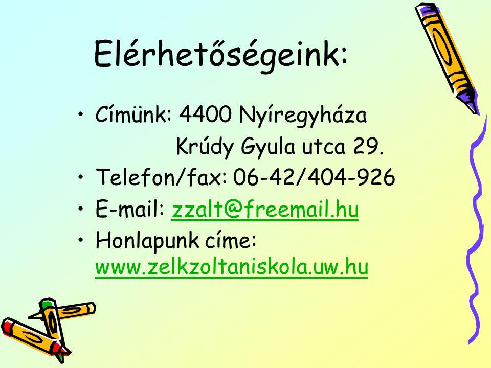 Elérhetőségeink: Címünk: 4400 Nyíregyháza Krúdy Gyula utca 29. Telefon/fax: 06-42/404-926 E-mail: zzalt@freemail.huzzalt@freemail.hu Honlapunk címe: w