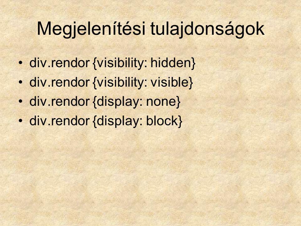 Megjelenítési tulajdonságok div.rendor {visibility: hidden} div.rendor {visibility: visible} div.rendor {display: none} div.rendor {display: block}