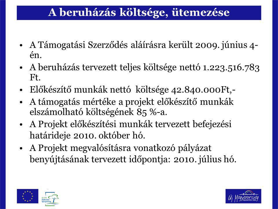 A beruházás költsége, ütemezése A Támogatási Szerződés aláírásra került 2009. június 4- én. A beruházás tervezett teljes költsége nettó 1.223.516.783