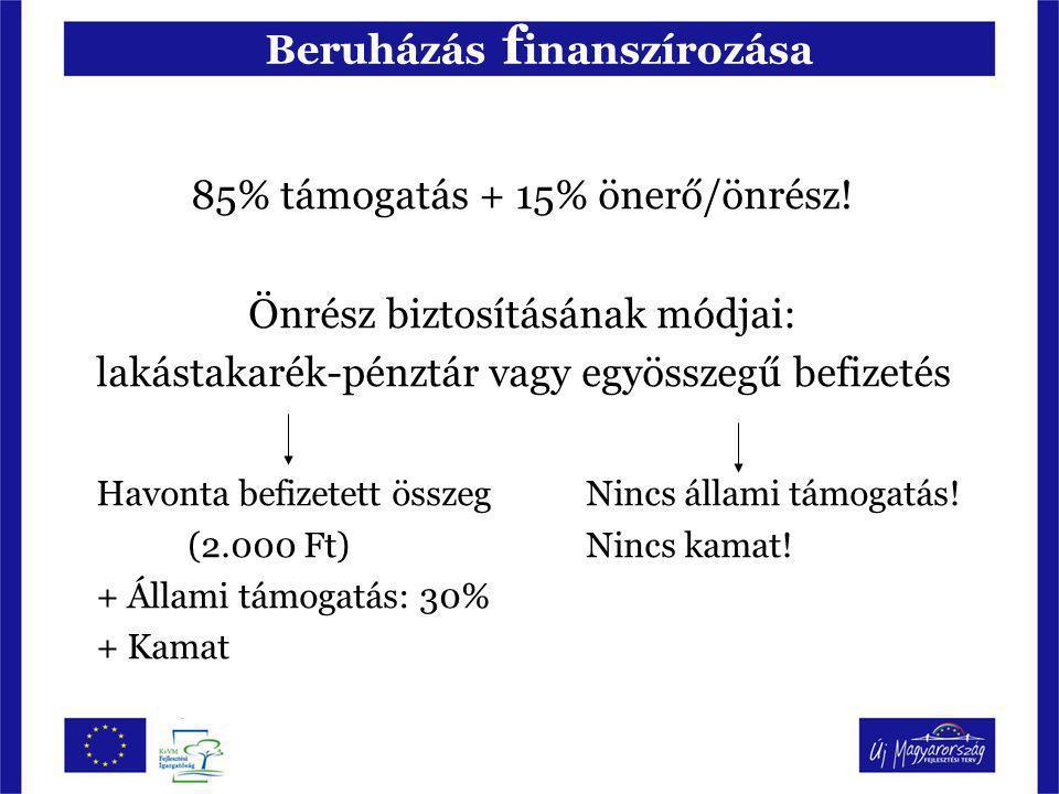 Beruházás f inanszírozása 85% támogatás + 15% önerő/önrész! Önrész biztosításának módjai: lakástakarék-pénztár vagy egyösszegű befizetés Havonta befiz