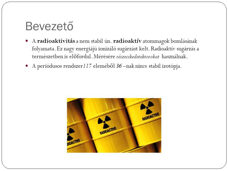 Bevezető A radioaktivitás a nem stabil ún. radioaktív atommagok bomlásának folyamata. Ez nagy energiájú ionizáló sugárzást kelt. Radioaktív sugárzás a
