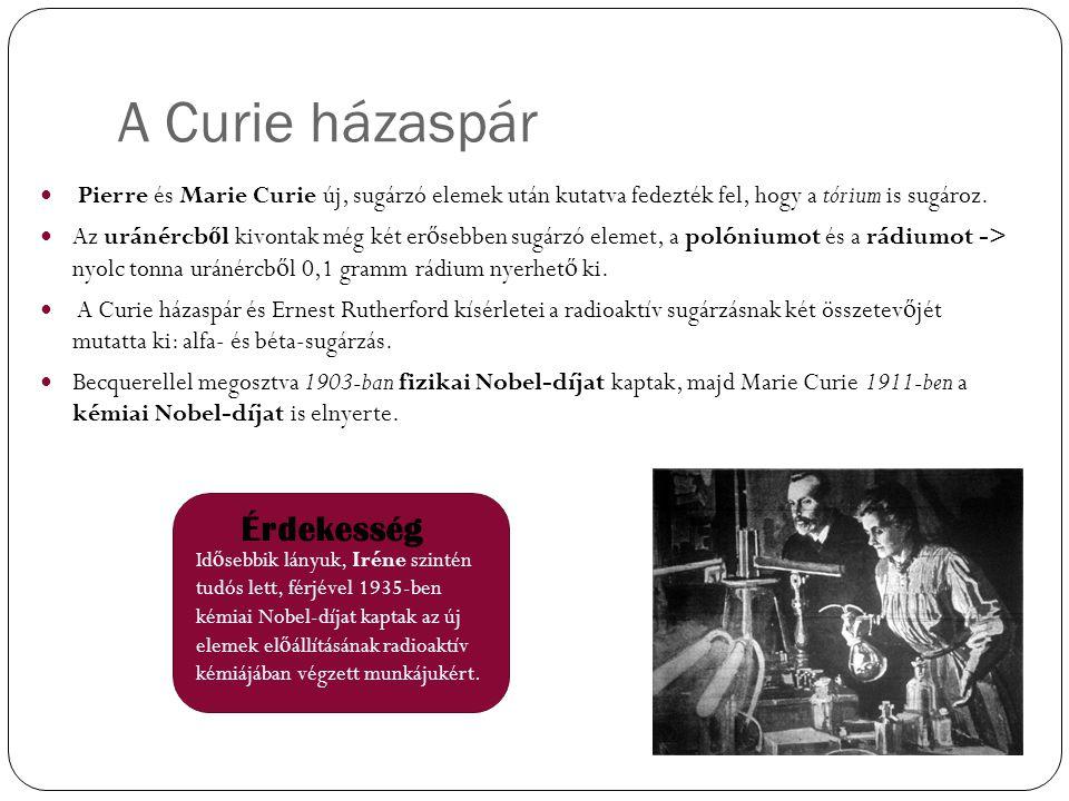 A Curie házaspár Pierre és Marie Curie új, sugárzó elemek után kutatva fedezték fel, hogy a tórium is sugároz. Az uránércb ő l kivontak még két er ő s