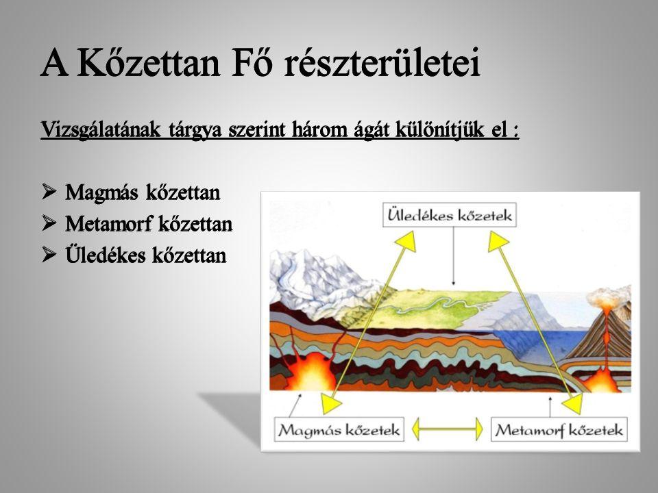 A Kőzettan Fő részterületei Vizsgálatának tárgya szerint három ágát különítjük el :  Magmás kőzettan  Metamorf kőzettan  Üledékes kőzettan A Kőzett