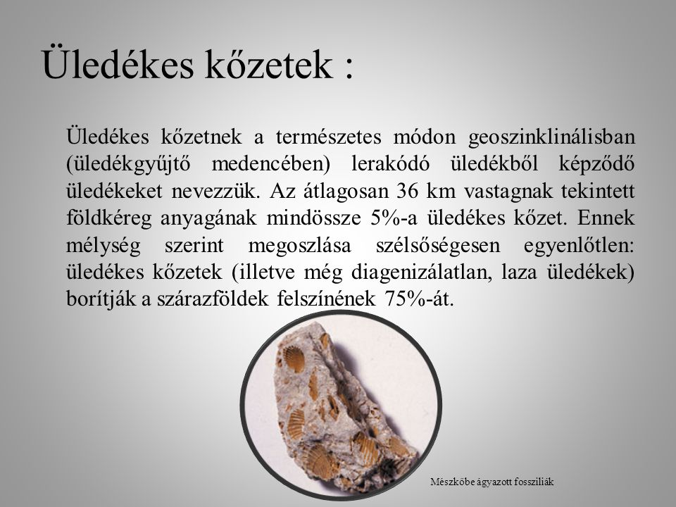 Üledékes kőzetek : Üledékes kőzetnek a természetes módon geoszinklinálisban (üledékgyűjtő medencében) lerakódó üledékből képződő üledékeket nevezzük.