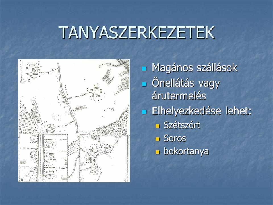 FALUSZERKEZETEK Lakófunkció és munka elkülönülhet Lakófunkció és munka elkülönülhet Mező- és erdő- gazdálkodás Mező- és erdő- gazdálkodás Közlekedés, alapfokú ellátás Közlekedés, alapfokú ellátás Szerkezetek: Szerkezetek: a) Halmazfalu b) Úti falu c) Orsós falu d) Völgyi falu e) Többutcás falu