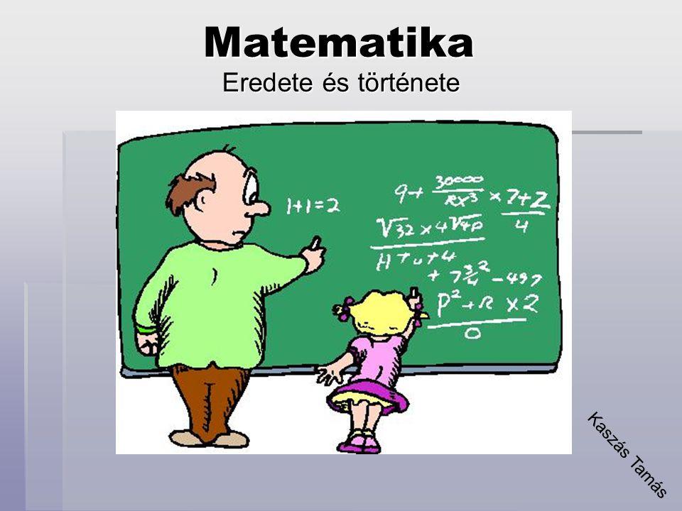  A matematika tudományának kialakulásával, változásaival, vagyis a matematika történetével a tudománytörténet megfelelő ága, a matematikatörténet foglalkozik.